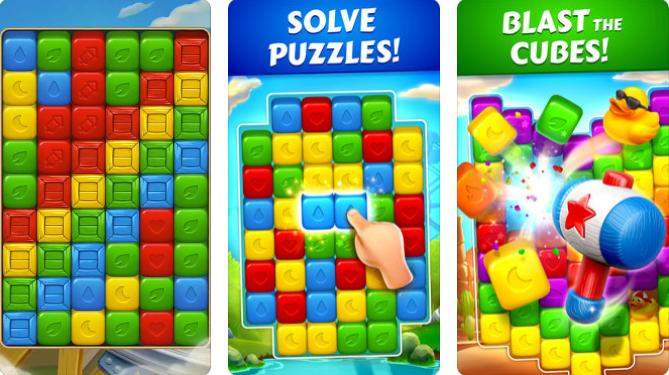 Three screen shots of a mobile app game being played with blocks